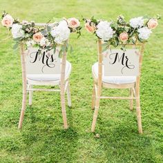 And Mrs. Chair Signs Set of 2 Bride And Groom Signs Wedding Signs Head Table Chair Banners Wedding Chair Signs Mister And Misses 1086 Wedding Groom, Fall Wedding, Rustic Wedding, Our Wedding, Dream Wedding, Bride Groom, Wedding Tuxedos, Wedding Chair Signs, Wedding Chairs