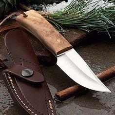 Unique Short Italian Sheath Knife Polished Olivewood handle and leather sheath