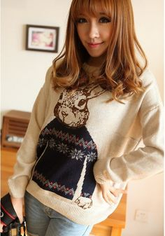 Girls Sweet Rabbit Print Long Sleeve Pullovers -