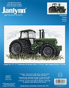 Janlynn Tractor - Cross Stitch Kit. Kit includes: 14 count white cotton Aida fabric, 100% cotton 6-strand carded floss, needle, graph and instructions. Design s