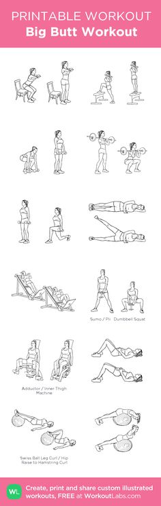 Big Butt Workout: my visual workout created at WorkoutLabs.com • Click through to customize and download as a FREE PDF! #customworkout