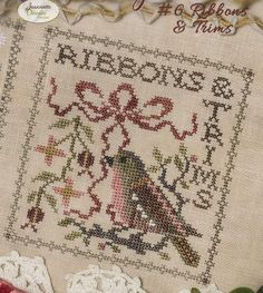 Sew Together - Ribbons & Trims by Jeannette Douglas Designs Counted Cross Stitch Pattern/Chart Cross Stitch Bird, Counted Cross Stitch Patterns, Cross Stitch Charts, Cross Stitch Designs, Cross Stitching, Sewing Room Decor, Needle Book, Hand Embroidery, Garden Club