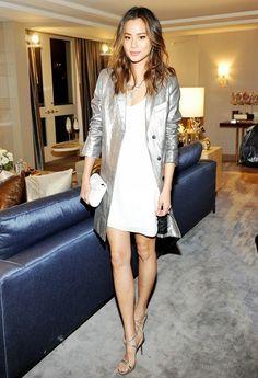 Jamie Chung, Coat, Metallic, Dress, Heels, Outfit, Style