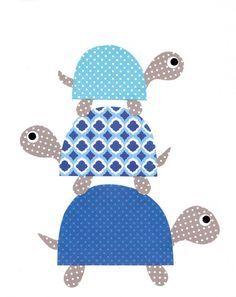 Blaue Schildkröten Kindergarten Artwork Print von 3000yardsofthread