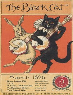 black cat posters | Vintage Black Cat 1896 Playing Guitar Fine Repro Poster | eBay