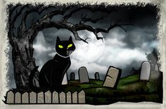 """""""Hallows Graveyard Folk Art"""" by Renee Lozen, Palm Harbor // Fun done before Halloween, late for posting! // Imagekind.com -- Buy stunning fine art prints, framed prints and canvas prints directly from independent working artists and photographers."""