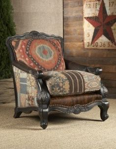 Rustic living room chairs and ottomans southwestern buckley chair. Ottoman In Living Room, Chair And Ottoman, Living Room Chairs, Living Room Furniture, Living Rooms, Western Furniture, Rustic Furniture, Furniture Decor, Furniture Design