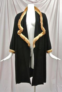 1920's Black Wool Flapper Coat Huge Draped Collar,Mink Trim,Scalloped Cape. Front