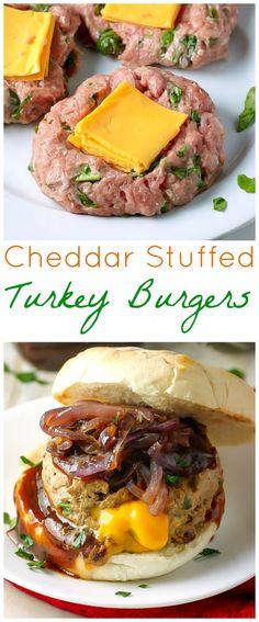 Cheddar Stuffed BBQ Turkey Burgers - easy and SO delicious!