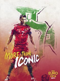 "To celebrate the UEFA Euro 2016 tournament, ESPN decided to create a series of 25 posters, highlighting the best players.The concept is to use for each posters the same catchphrase ""More Than…"" then customizing it according to the team.I try to create …"