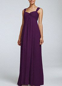 David's Bridal Long Crinkle Chiffon Bridesmaid Dress with Twist Front Detail - Style F15633 in Plum. #davidsbridal #bridesmaiddress #purpleweddings #longbridesmaiddress