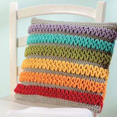 """Colorful Wiggle Pillow pattern by Stacey Trock from the book """"Modern Baby Crochet"""" Crochet Cushion Cover, Crochet Cushions, Crochet Pillow, Crochet Stitches, Crochet Blankets, Wiggly Crochet Patterns, Blanket Crochet, Crochet Afghans, Crochet Granny"""