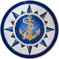 Mosaic Medallion | Nautical Design | Nautical Mosaics | Geometric Designs | Anchor Design | Great for your Pools - Pool Mosaics & Pool Art