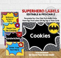 INSTANT DOWNLOAD Superhero Food Labels Superhero Gift Bag Labels Superhero Table Tents Superhero Buffet Card Comic Book Labels Super heroes