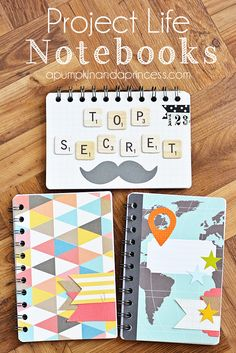 How To Make A Notebook Using Project Life Cards.would be great for a mini vacation scrapbook. Project Life Karten, Project Life Cards, Diy Cahier, Diy Cadeau, Diy Notebook, Pocket Scrapbooking, Book Binding, Smash Book, Journal Cards