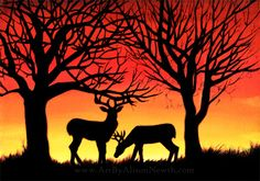 deer grazing sunset silhouette acrylic painting