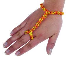 Pulseras estilo árabe, pulseras con anillo hechas de ligas de colores amarillo y naranja
