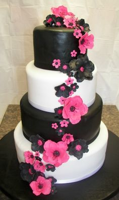 Hot Pink and Black Wedding By gingersoave on CakeCentral.com