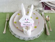 .How-To Napkin Fold Bunny Ears ~ with bunny face napkin rings.