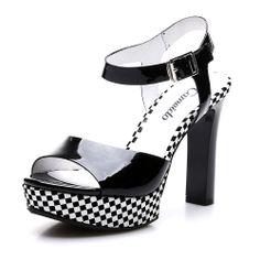 【卡美多Cameido KW16GETP42-52503 黑色】卡美多(cameido)黑色漆牛皮格子细跟女子纯凉鞋KW16GETP42-52503-99