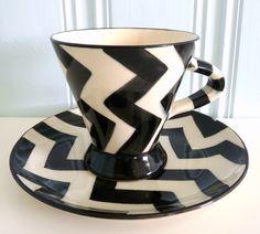 3 kopper med asjetter - Håndlaget keramikk