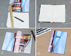 DIY: notebooks. I've already repinned so many notebook tutorials, but I love this idea of using a painting or photo as a cover!