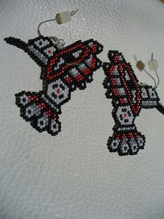 brick stitch beaded Tribal Humming bird earrings by DebsVisions