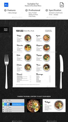 Minimalist Ramen & Rice Bowl Menu This menu is suitable for your Restaurant, Cafe, Food Truck, and Hotel. This menu is made in Pho Café Design, Food Poster Design, Food Menu Design, Food Truck Design, Design Room, Pizza Menu Design, Japanese Restaurant Menu, Carta Restaurant, Japanese Menu