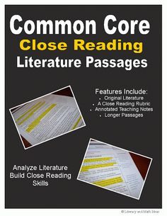 (SEVEN) Middle School Common Core Close Reading Passages.  They contain highlighted and annotated teaching notes, a close reading rubric and sample exemplars.