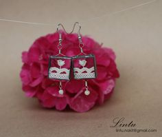 Unique Glass Earrings with Birds by lintunakit on Etsy, $20.00