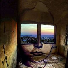 A Pair of Window Shades Overlook Greece by 'Achilles' 3d Street Art, Amazing Street Art, Street Art Graffiti, Amazing Art, Graffiti Artists, Street Artists, Street Art Quotes, Cartoon Graffiti, Berlin Graffiti