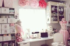 Shabby Chic sewing and craft space.... gorgeous!!