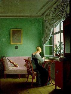 Woman Embroidering ~ Georg Friedrich Kersting ~ (German, 1785-1847)
