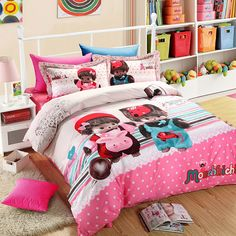Bedroom Decor Pink Wall Decorations With Wall Decor Canvas Art Also White Fluffy Carpet And Storage Cabinet With Lamp Besides Floor Wooden Tiles  Funny Bed Cover  Pillow Bed Sheet  Storage Cabinet With Books   Organizing Kids Bedroom Sets