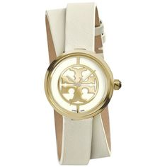 Tory Burch Reva Goldtone Stainless Steel & Leather Double-Wrap Strap... ($310) ❤ liked on Polyvore featuring jewelry, watches, apparel & accessories, tory burch watches, crown jewelry, leather strap watches, water resistant watches and tory burch jewelry