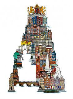 Illustrated Alphabet of European Cities by Hugo Yoshikawa - Amsterdam (Netherlands)