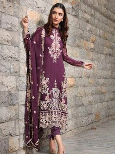 Stuff Embroidered Crinkle Chiffon Front 1 M Crinkle Chiffon Back 1 M Embroidered Neckline Patch 1 Pc Embroidered Patch For Front & Back 2 M Embroidered Crinkle Chiffon Sleeves M Embroidered Crinkle Chiffon Dupatta M Dyed Silk Trouser M Dress Outfits, Casual Dresses, Clothes For Sale, Clothes For Women, Velvet Shawl, Pakistani Designer Suits, Pakistani Bridal Wear, Chiffon Material, 3 Piece Suits