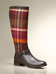 Trish Blanket Plaid & Leather Riding Boot -IN LOVE.