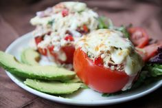 Breadless Tuna Melt in a Tomato, this was really good, I served it with some fresh spinach and avocado. I loved the pepperjack on it!