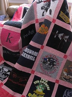 a Tshirt quilt I really like.... but i want mine to include,  Scarlets, TX State, NS, Cupcakes, Fillies, Old Dance Costumes/Coverup, Many More!