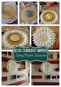 Also, Plastic Spoon Sunburst Mirror! Such a fun and simple craft that makes a HUGE impact! his post is aimed for you to make use of your plastic spoons in the most creative way possible. So, go on and check this incredible collection of DIY Amazing Plast Plastic Spoon Crafts, Plastic Spoons, Plastic Spoon Mirror, Plastic Bags, Mirror Crafts, Diy Mirror, Home Crafts, Easy Crafts, Diy And Crafts