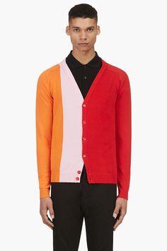 RAF SIMONS Red & Orange Intarsia Colorblock Cardigan