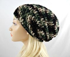 Green Camo Slouchy Beanie Womens Camouflage Crochet Slouch Hat Fall Winter Hat #bestofEtsy #etsyretwt