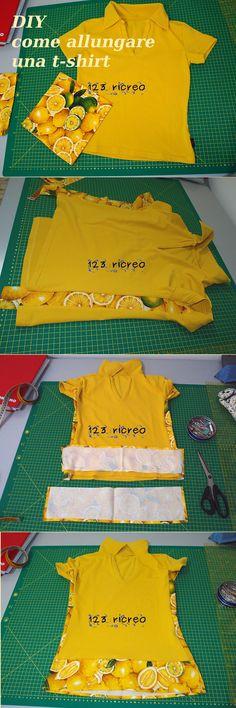 #DIY come #allungare e allargare una maglia con dei tovaglioli di stoffa - tutorial 123ricreo