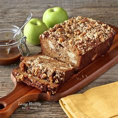 Warm Caramel Apple Pie Bread loaded with chunks of apples & crunchy walnuts, made with a cinnamon-almond flour batter, and topped with my homemade caramel sauce.