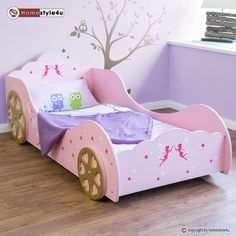 Fee Prinzessin Kinderbett Auto Kutsche Spielbett Jugendbett Lattenrost rosa Bett