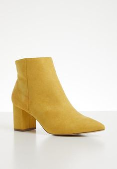 Debbie ankle boot - yellow Madison® Boots | Superbalist.com Block Heels, Two By Two, Footwear, Booty, Ankle, Zip, Yellow, How To Wear, Shoes