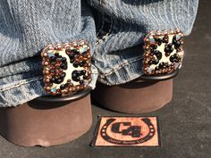 Cheetah Bling Custom Conchos, Cuff Keepers, Jean Savers, Pant leg Protects, Custom Conchos, Gifts for Her, Birthday Gifts, Cheetah Pattern,