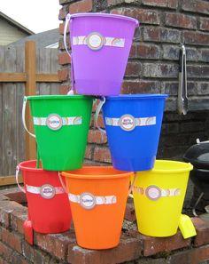 rainbow party - decorate dollar store buckets