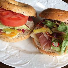 「#うちごはん #サンドイッチ#sandwich#cook #food #お昼ごはん#お昼#昼飯#ベーグル#bagel#ベーグルサンド#おやつ#コストコ ♔…」
